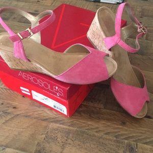 Pink wedge sandals
